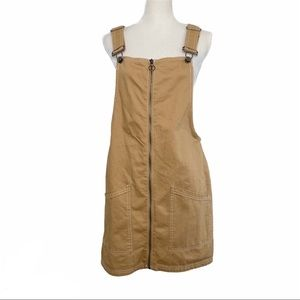 BERSHKA overalls zip up Denim dress khaki Size L